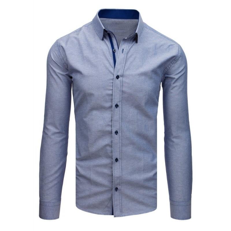 50806fb7c23a Elegantná pánska košeľa s dlhým rukávom modrej farby slim strihu