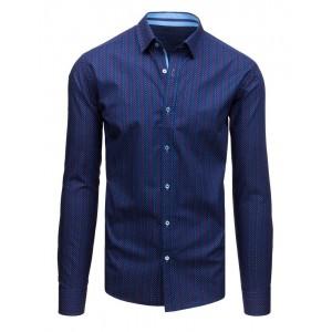 Elegantná tmavo modrá košeľa s jemným vzorom farebných kociek