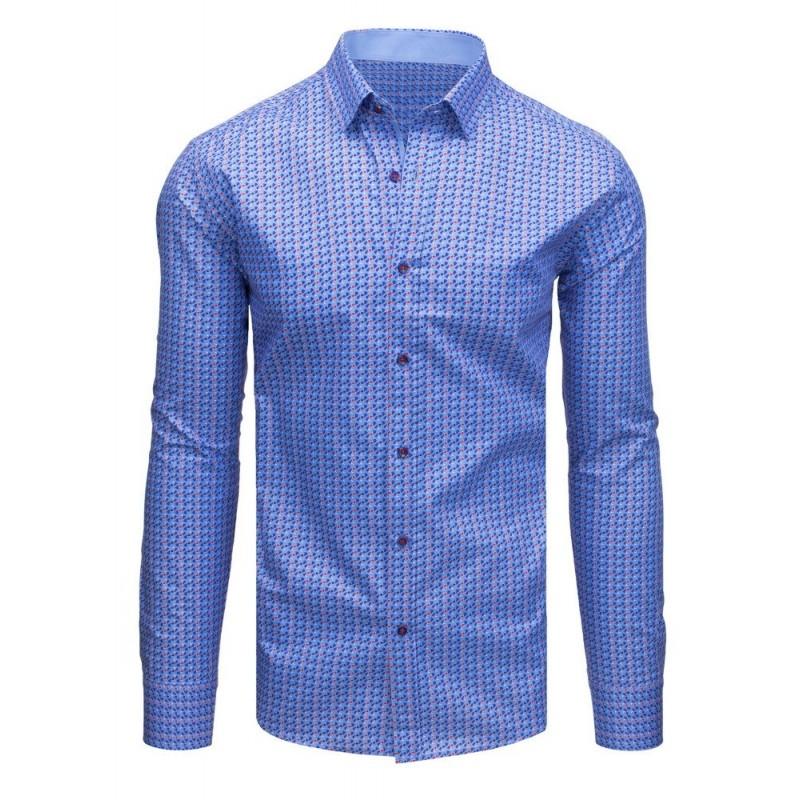 fc15bda873dd Modrá pánska košeľa s jemným vzorom a dlhým rukávom