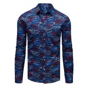 Moderná tmavo modrá pánska košeľa s originálnou potlačou