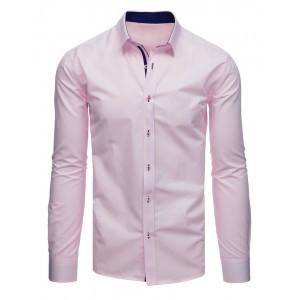Štýlová pánska košeľa v ružovej farbe s dlhým rukávom a jemnou potlačou
