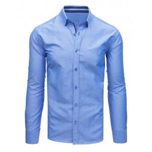 012111b95b56 Elegantná pásikavá pánska slim fit košeľa v modrej farbe s dlhým ...