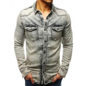 Štýlová pánska rifľová košeľa v sivej farbe s dvoma prednými vreckami