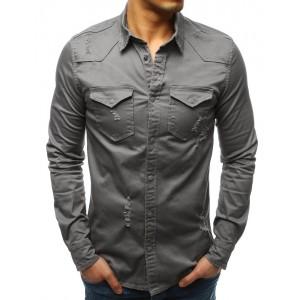 Moderná pánska sivá košeľa v trendy dizajne s dvoma prednými vreckami
