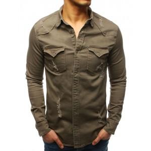 Športová pánska khaki košeľa s dlhý rukávom a módnym dizajnom