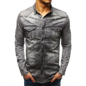 Trendy pánska košeľa v sivej farbe so zapínaním na cvoky