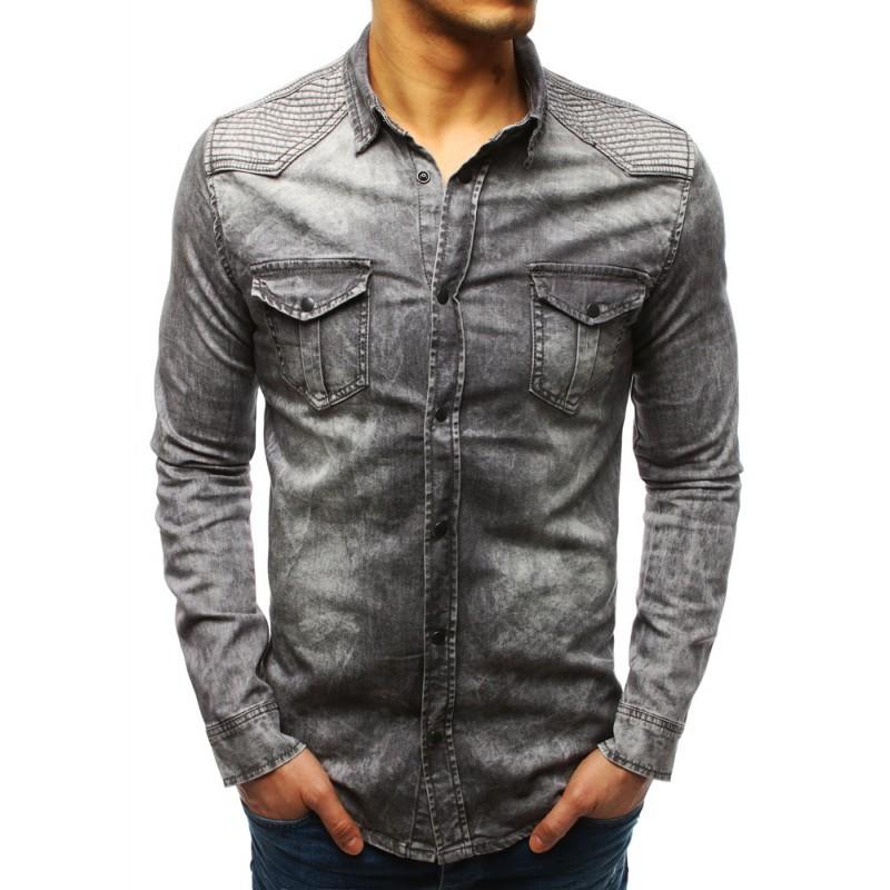 e43fc46575ed Trendy pánska košeľa v sivej farbe so zapínaním na cvoky