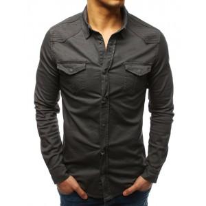Pánska čierne košeľa s dlhým rukávom moderného dizajnu