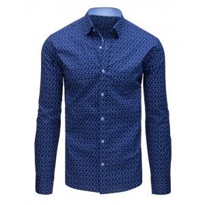 Elegantná pánska modrá košeľa s potlačou a zapínaním na gombíky