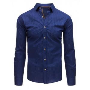 Trendy pánska slim fit košeľa modrá s potlačou jemných bodiek