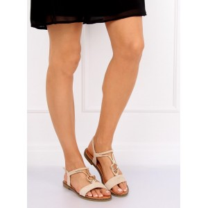 Dámske semišové nízke sandále v béžovej farbe s ozdobnou prackou