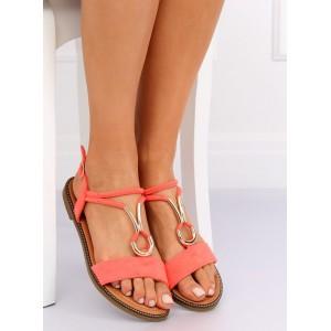 Štýlové dámske sandále nízke v módnej korálovej farbe
