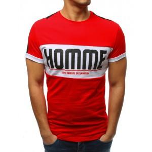 Štýlové pánske červené tričko s krátkym rukávom a nadpisom