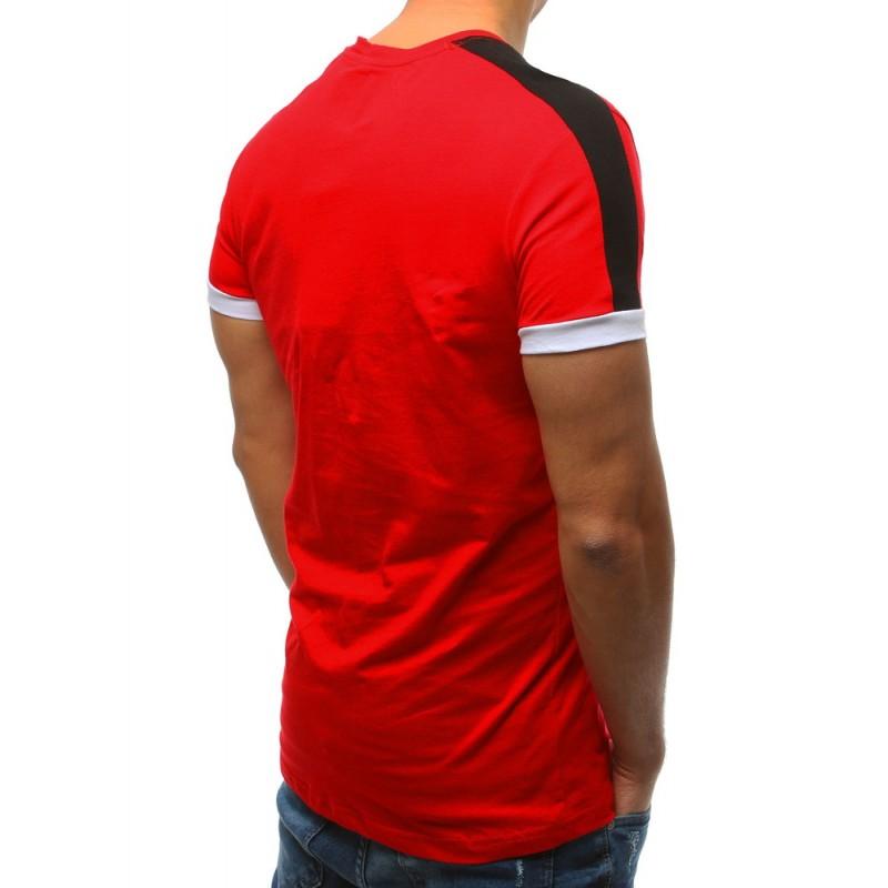 f71eca5bcf9d Štýlové pánske červené tričko s krátkym rukávom a nadpisom