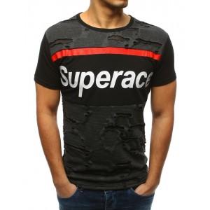 Čierne tričko pánske s nápisom a módnym dizajnom dier