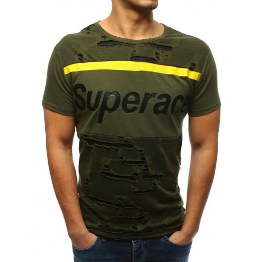 Originálne pánske tričko zelené s krátkym rukávom s trendy nápisom