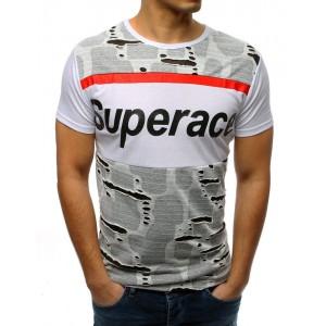 Štýlové pánske tričko biele s módnymi dierami a krátkym rukávom
