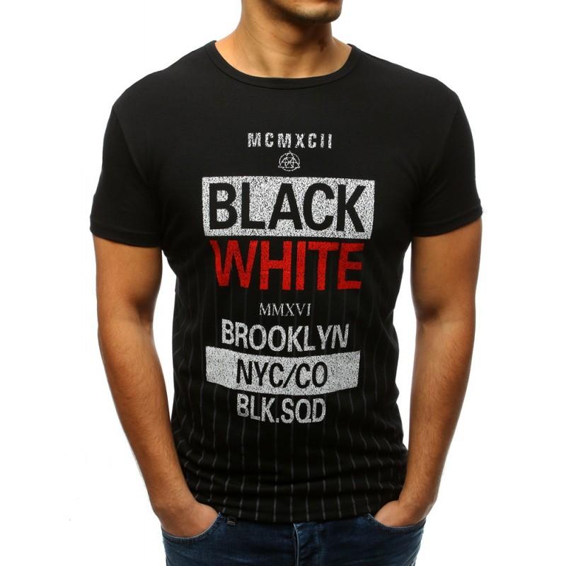 125446c14d21 Moderné pánske čierne tričko s krátkym rukávom a nápismi