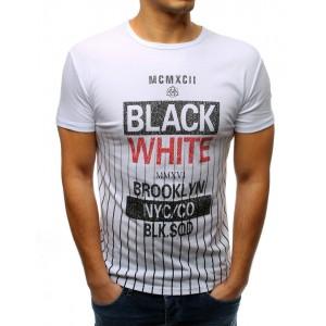Pánske biele tričko originálne s nápisom a krátkym rukávom