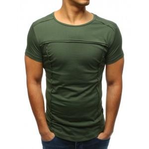 Moderné pánske tričko s krátkym rukávom v zelenej farbe bez potlače
