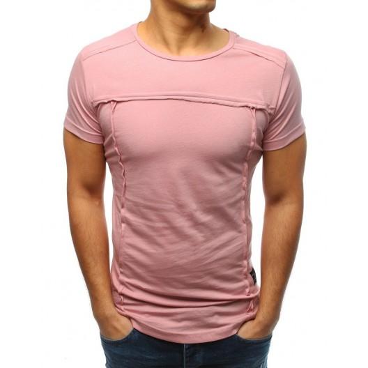 Štýlové pánske bavlnené tričko v ružovej farbe bez nápisov a potlače