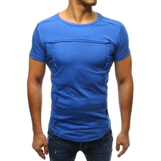Pohodlné zafírovo modré pánske bavlnené tričko
