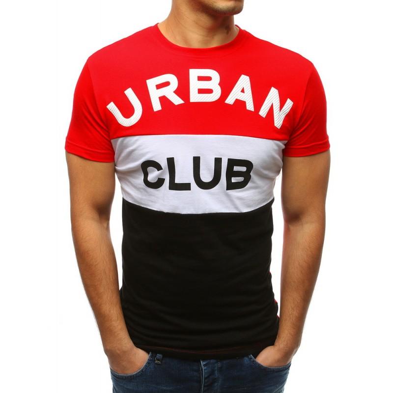 a54a3cdf667c Štýlové pánske červené tričko s krátkym rukávom s veľkým nápisom