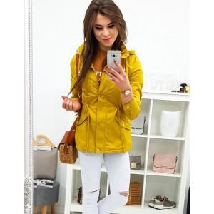 Dámska prechodná jarná žltá bunda so zapínaním na zips a cvoky