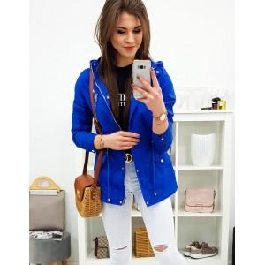 Jarná dámska prechodná bunda s kapucňou v krásnej modrej farbe