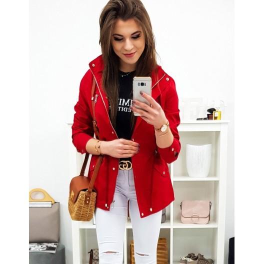 Krásna červená dámska prechodná bunda parka s kapucňou