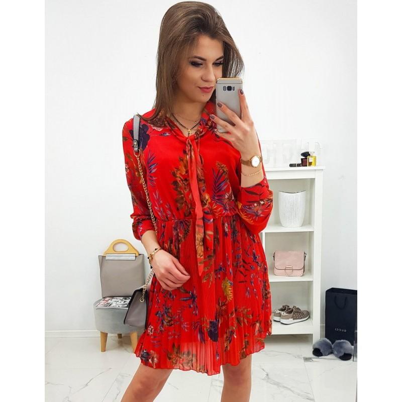 096bcc3f2969 Krásne plisované červené šaty s motívom kvetov a dlhým rukávom