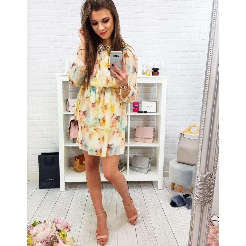 c9ae2cc67870 Spoločenské dámske žlté šaty s kvetmi dvojvrstvovou sukňou