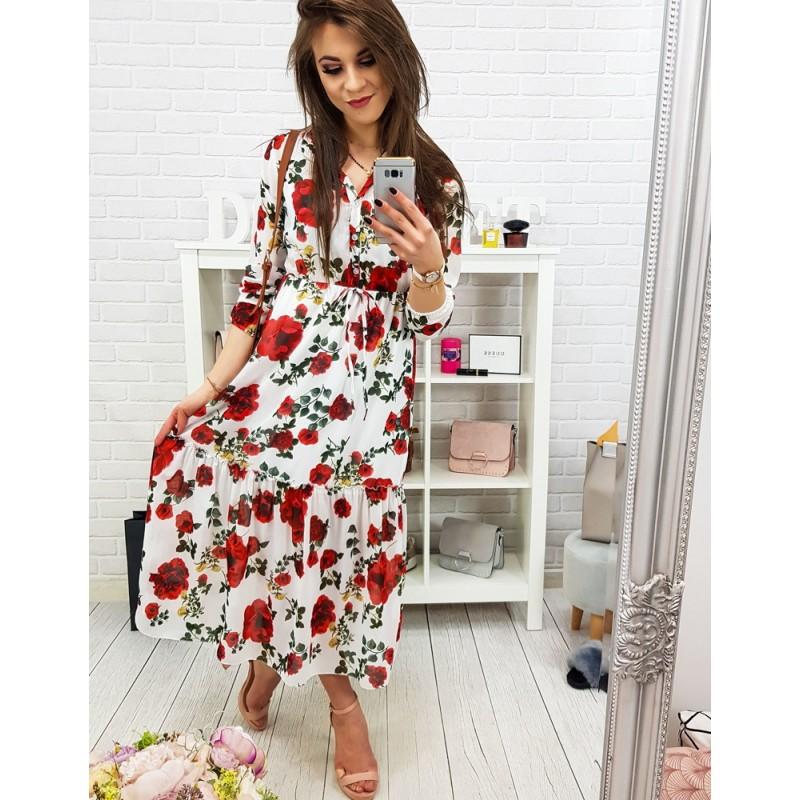cb60db85a1fc Letné dámske dlhé maxi šaty s červenými kvetmi