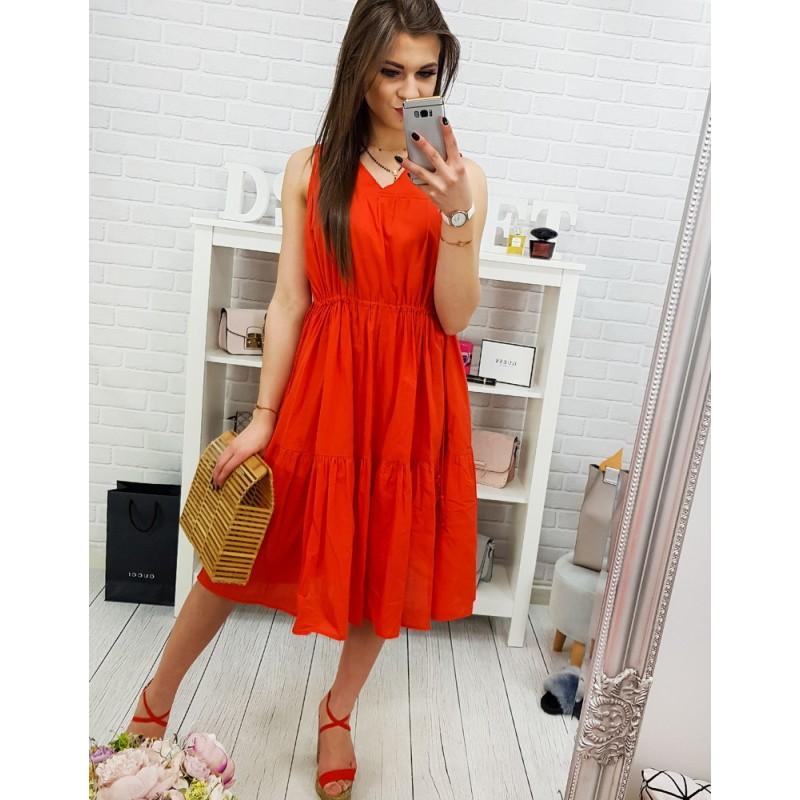 8ecea3e58f Romantické dámske midi červené šaty bez rukávov voľného strihu