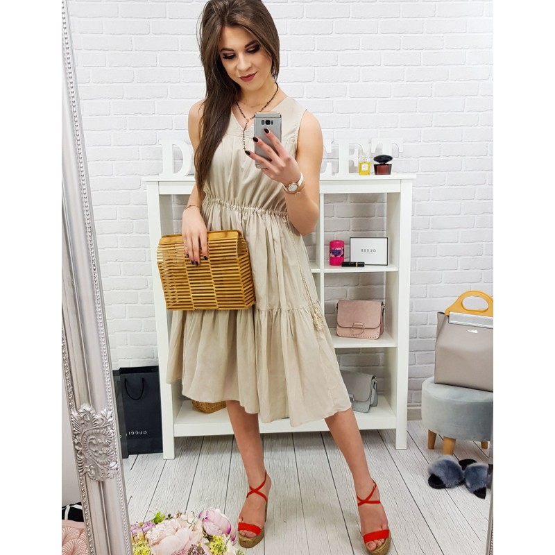 debe04b36d08 Krásne štýlové béžové midi šaty na leto s ozdonou šnúrkou so strapcom