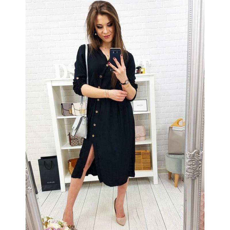 6573a5ae0f16 Originálne dámske čierne šaty na gombíky s asymetrickým zapínaním
