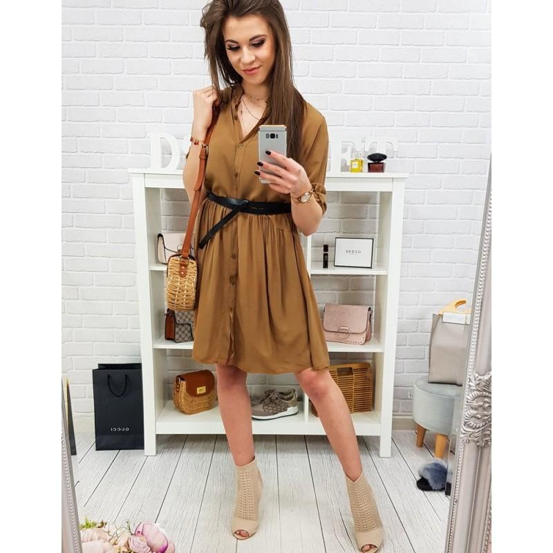51003824b32d Štýlové hnedé midi šaty so zapínaním na gombíky