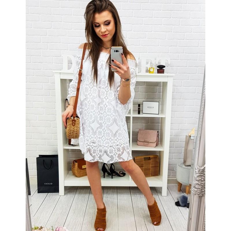 242a081e0d Dámske biele romantické letné čipkované šaty s rozšírenými rukávmi
