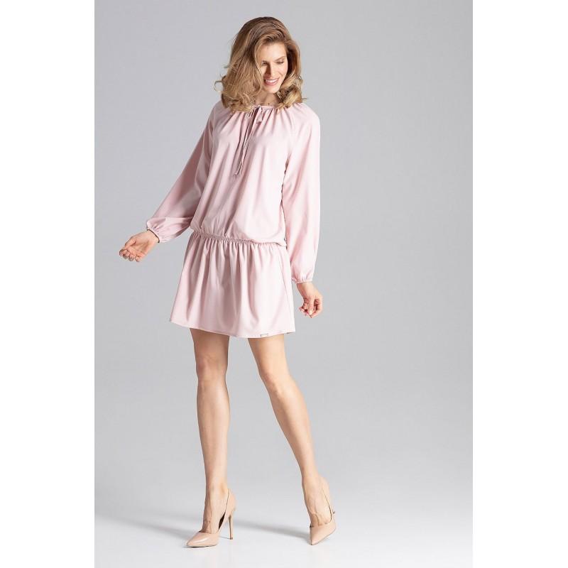 963c378f63 Romantické dámske šaty ružové nad kolená so sťahujúcou gumou v páse
