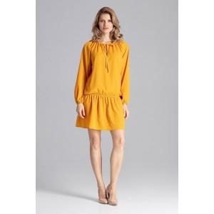 Krásne jarné mini šaty voľného strihu v žltej farbe a s ozdobnou šnúrkou