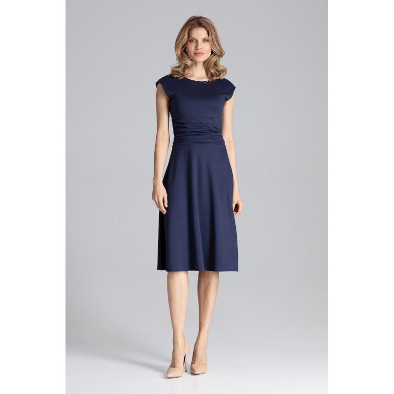 50760c69126d Luxusné dámske šaty s krátkym rukávom tmavo modré