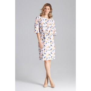 Štýlové dámske vzorované midi šaty nad kolená s viazaním v oblasti pása