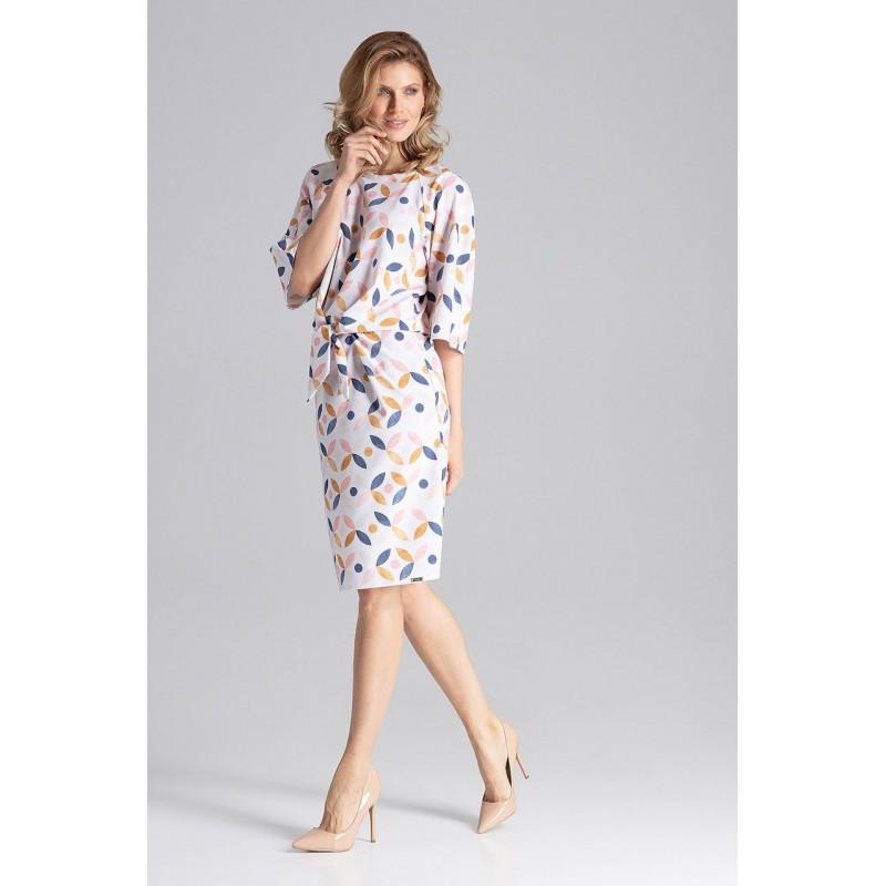 b91d0d74372f Štýlové dámske vzorované midi šaty nad kolená s viazaním v oblasti pása