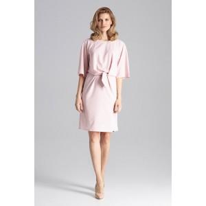 Elegantné dámske ružové midi šaty s elastickým pásom a trendy viazaním