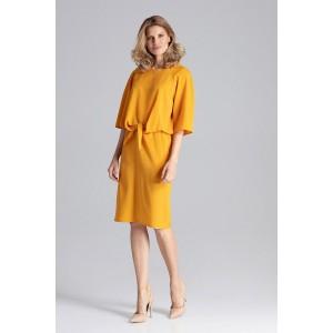 Originálne dámske šaty v krásne žltej farbe rovného strihu s viazaním