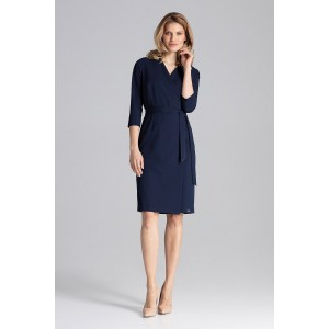 1d662ab03 Trendy dámske šaty tmavo modré s preklápanim a trendy opaskom