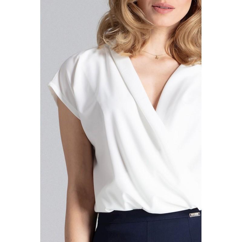 157ec24d699a Luxusná dámska biela blúzka obálkového strihu a V výstrihom