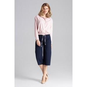 Štýlová dámska ružová blúzka so zapínaním na cvoky a trendy šnúrkou