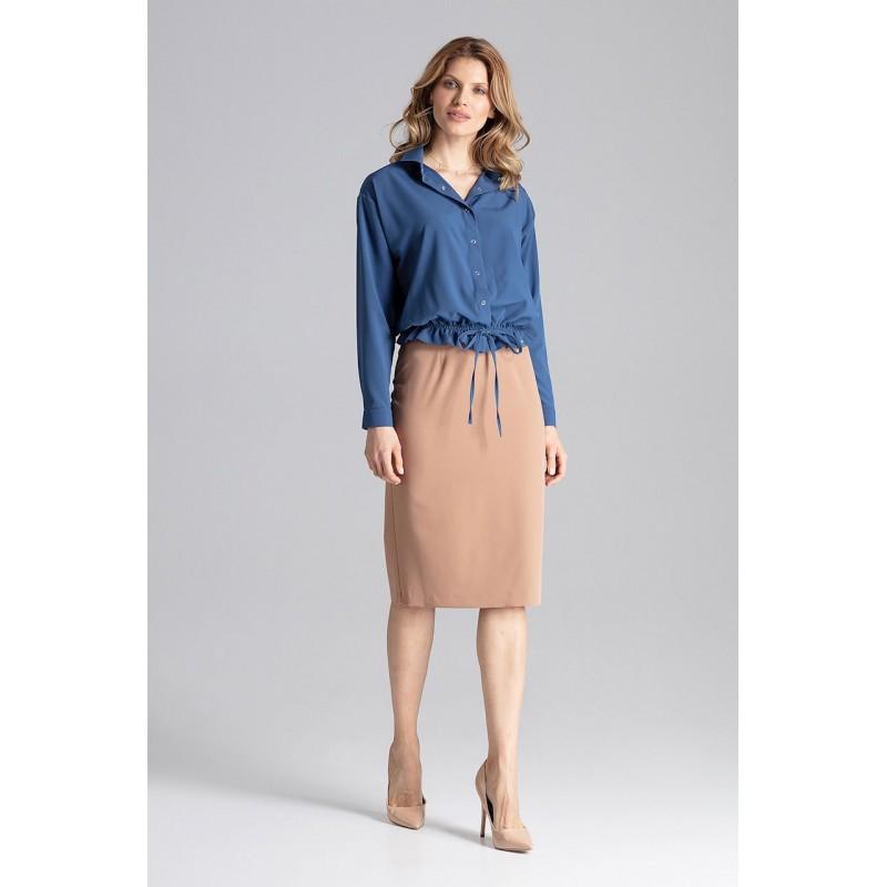 1fcb4e7231 Tmavo modrá dámska blúzka košeľového strihu so zapínaním na cvoky