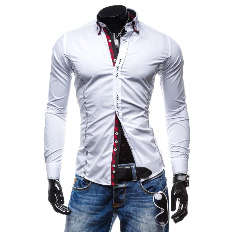 6768efd565b6 Moderná a štýlová pánska košeľa s dlhým rukávom bielej farby ...